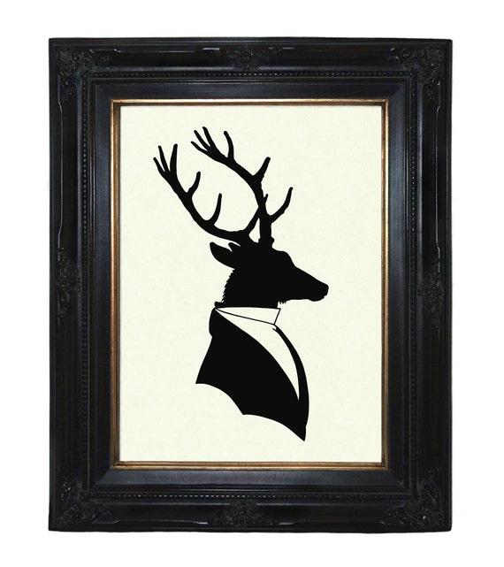 Silhouette Deer Gentleman Antler Victorian Steampunk art print