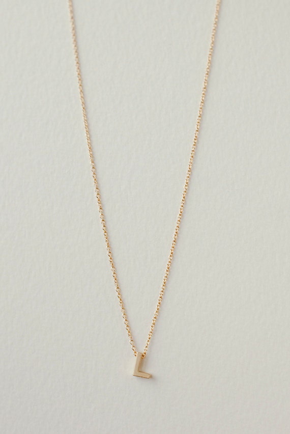 Items similar to personalized l initial necklace dainty for Gold necklace with letter l