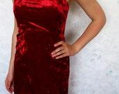 Vintage Red Velvet Fishtail Dress