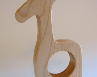 Wood Toy -  Giraffe Teether - organic, safe and natural for baby
