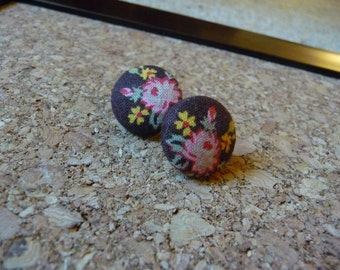 """Vintage Fabric Button Earrings 3/4"""" Brown Fabric Pink Flowers, Womens Jewelry, Post Earrings"""