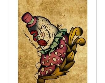 Paul the Drunk, Clown, Neo-Traditional Tattoo Flash, Carnival Sideshow, Old School, Art Print 12x16