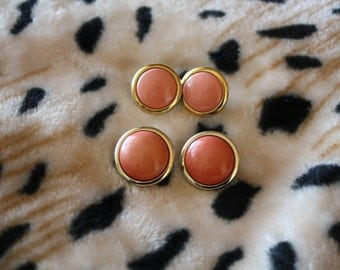 Vintage Stud Earrings -- Two Pairs -- Peach Studs -- Costume Jewellery