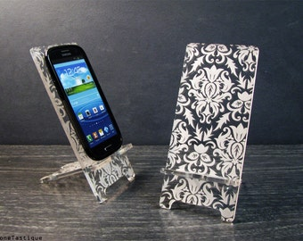 Samsung Galaxy S3 S4 S5 Android Cell Phone Stand Docking Station Damask Filigree Pattern