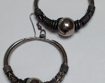 Sterling Silver Tribal Hoop Earrings with Detailed Wire Coil and Silver Pearl Center