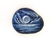 Moon rock painted paperweight stone - painted rock - moon and stars magic moon office decor - DreamRelic