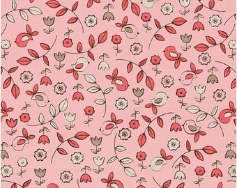 Pink Bird Fabric - It's A Girl Thing Sweet Tweet Pink by MIchael Miller CX5191 Bloom - 1/2 yard