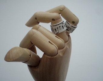 Lyrical Notes Ring - Upcycled Shrink Film Ring - Handmade Custom Unisex Ring