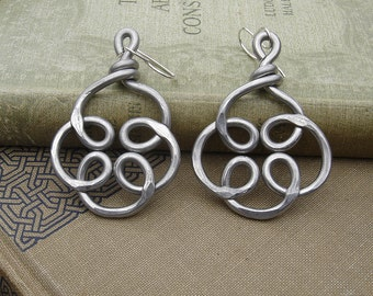 Celtic Knot Flower Swirl Unique Big Earrings - Very Big Earrings Light Weight Aluminum Dangle - Celtic Knot Jewelry - Women