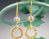 Yellow Blue Rhinestone Earrings Swarovski Bezel Round Disc Jonquil Yellow Lt Sapphire Blue Rhinestone Jewelry