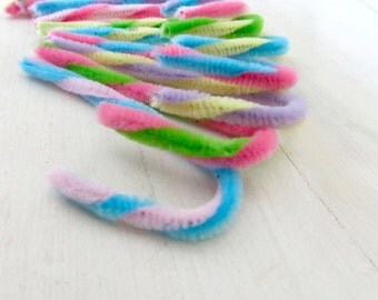 One Dozen Hand Twisted Pipe Cleaner Easter Candy Canes