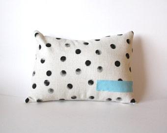 Polka Dot Pillow - Tan and Black Lumbar Dot Pillow - Black Polka Dots - Nursery Decor