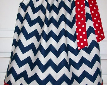 Navy Chevron Dress Patriotic Dress Pillowcase Dress with Chevron Dress red white and blue Summer Dress baby dress toddler dress girls dress
