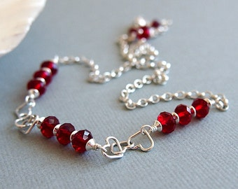 Red Swarovski Crystal Sterling Silver Necklace, Valentine Gift - BE MY LOVE