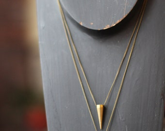 Pendulum Pendant Set, Solid Brass Spike, Tribal, Industrial Necklace set,  Raw Gold Matte Brass,  Gift Box