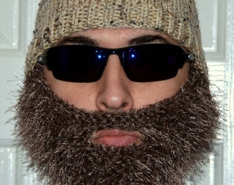 Beard Beanie, Knitted Beard Hat, Adult Size, All Colors, Bearded Beanie, Bearded Hat, Bearded Cap