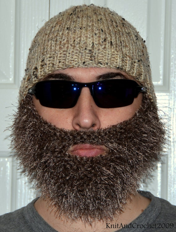Beard Beanie Knitted Beard Hat Adult Size All Colors