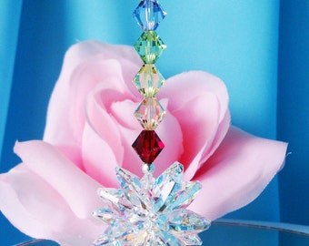 Chakra Crystal Car Charm Rear View Mirror Accessories Swarovski Car Ornament