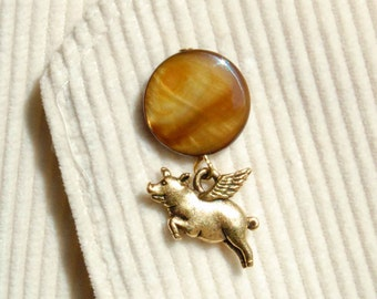 Flying Pig Tie Tack, Pig with Wings Lapel Pin, Your Choice Brown, Cream OR Salmon, Pigasus Pin, When Pigs Fly Tie Tac