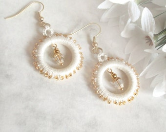 Cream, Gold Hoop Earrings in Tatting - Alys - One Of A Kind