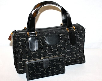GIVENCHY Vintage Speedy Handbag Monogramed Black Suede Doctor's Tote and Wallet - AUTHENTIC -