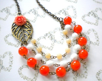 Orange Necklace Flower Necklace Orange Statement Necklace Flower Bib Necklace Three Strand Beadwork Necklace Orange Wedding Jewelry