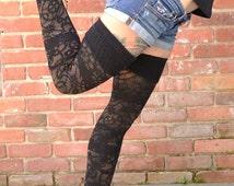 Steam Punk Black American Apparel Thigh High Stockings Socks.