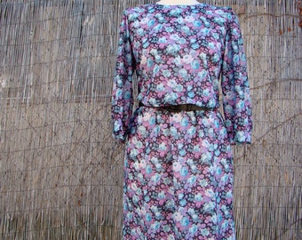 Vintage 80s / Blue / Floral Print / Puffed Sleeve / Day Dress / Medium