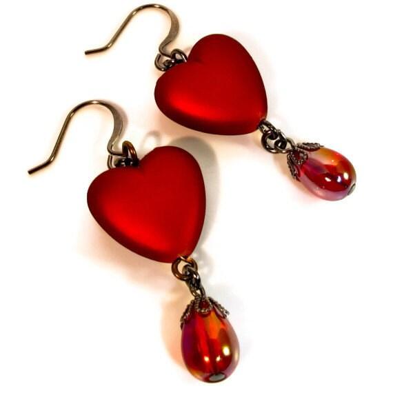 Red Heart Earrings, Valentines Earrings, Crimson