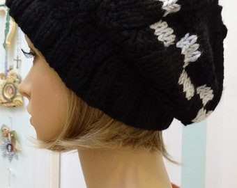 BLACK HAT, slouchy style, acrylic , hand knitted in a worsted weight yarn with a grey check pattern