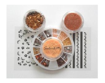 SALE Orange Manicure Kit nail art copper glitter shaker metallic vial tangerine powder glitter supply 11g steampunk Also scrapbooking use