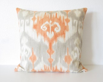 Richloom Marlena Orange ikat light gray throw pillow cover