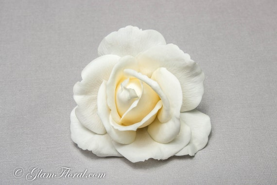 Ivory Rose Hair Clip . CUSTOM COLOR - Real Touch Flowers white ivory cream yellow peach coral orange green pink fuchsia red