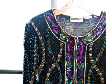 Vintage deco BEADED evening sequin TROPHY jacket... STUNNING rope design