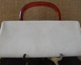 MID CENTURY Bone Vinyl Leatherette Handbag Tortoise Bakelite Handle Vintage Clutch Purse High Fashion Clutch Fall Fashion Simple Handbag