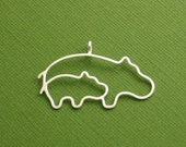 Hippo Pendant, Mother and Baby Hippo, Sterling Silver, Made To Order
