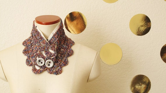Summer Collar scarf, Crocheted summer yarn, linen lining