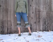 Upcycled Jean Capris, Rock Revival, Capri Pants, Eco Clothing, Denim Capris, Summer Jeans, Size Small