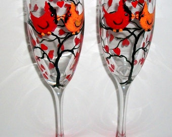 Hand Painted  Champagne Flutes Cardinals Red Birds Love Birds Set of 2 - 6 oz. Toasting Flutes Red Hearts Tree  Free Personalization