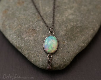 Opal Necklace - Opal Pandent - October Birthstone - Black Oxidized - Cabochon Stone - Small Opal Solitaire