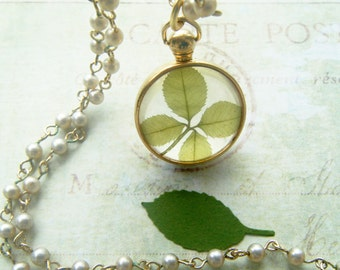Four Leaf Clover, Coro, Four Leaf Clover Necklace, Rosary Chain, Vintage Coro