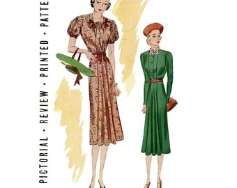 1930s Dress Pattern Pictorial Review 9309 Bust 34 Flared Skirt Shirred Neckline UNCUT Womens Vintage Mail Order Sewing Patterns