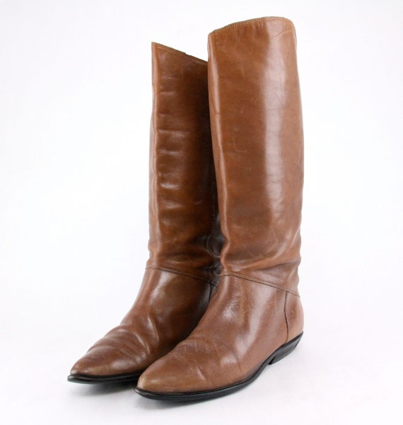 Equestrian Riding Boots chestnut brown leather flat tall pull