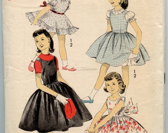 1950s Advance 8327 Girls Two Piece Suit Cropped Jacket Suspender Skirt Vintage Sewing Pattern Size 8 Breast 26