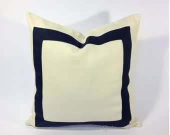 Decorative Pillow Cover Black Grosgrain Ribbon Border - 8 Different Colors of Ribbon Border Choices On White Cotton Canvas