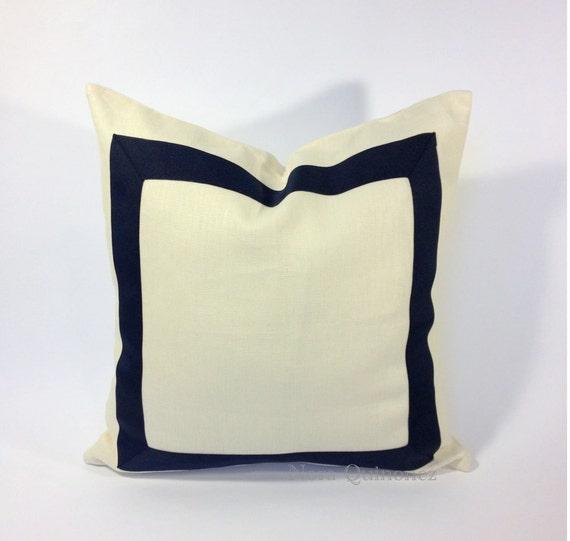 Decorative Pillow Cover Black Grosgrain Ribbon Border - 8 Different Colors of Ribbon Border Choices On White Cotton Canvas