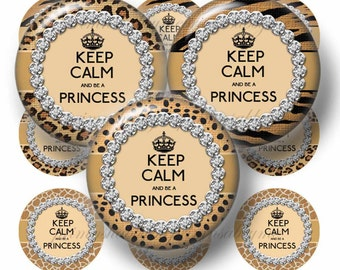 Princess, Digital Collage Sheet, Bottle Cap Images, Keep Calm And Be a PRINCESS, ANIMAL PRINT, 1 Inch Circles, Instant Download, Glass Tiles