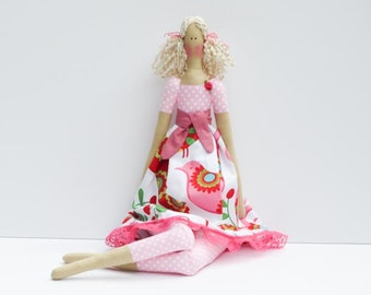 Fabric doll, rag doll stuffed doll, Tilda doll blonde pink polka dots cloth doll art doll cute toy handmade doll baby shower gift for girls