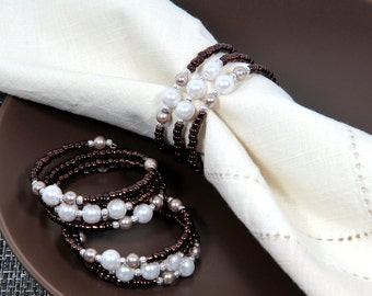 Beaded Napkin Rings Set of Four in Copper and White Pearls