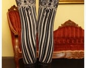 Garter Leggings - Burlesque - Womens Legging - BLACK - Garter leggings - printed Tights  - Suspender leggings XSMALL